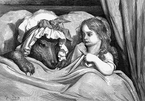 Caperucita Roja, grabado de Gustave Doré